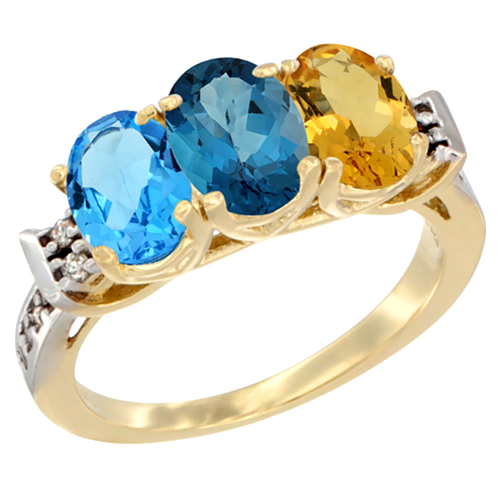 10K Yellow Gold Natural Swiss Blue Topaz, London Blue Topaz & Citrine Ring 3-Stone Oval 7x5 mm Diamond Accent, sizes 5... by WorldJewels