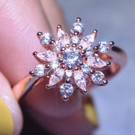 AkoaDa Women Engagement 18K Gold Rose Gold Natural Gemstone Full Diamond Aaa Cz Snowflakes Flower Antique Ring Snowflakes Wedding Jewelry Gifts Size 6 7 8 9 10 Antique Gold Snowflake