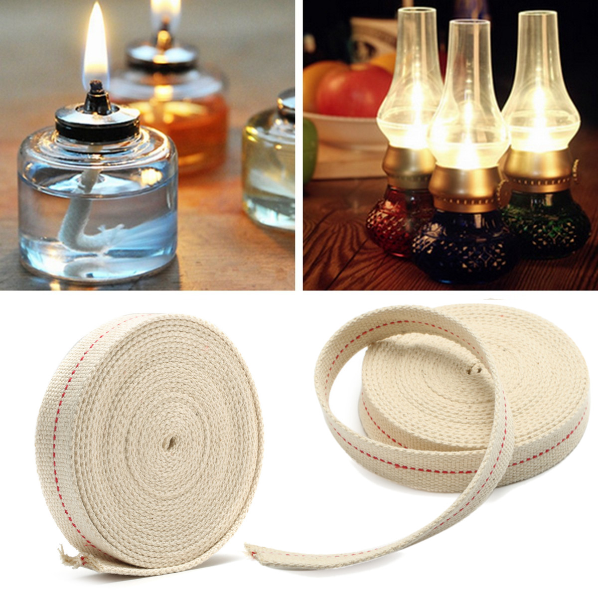 1'' 15ft Flat Cotton Wick Oil Lamps Fiber Alcohol Foot Lanterns Light DIY by