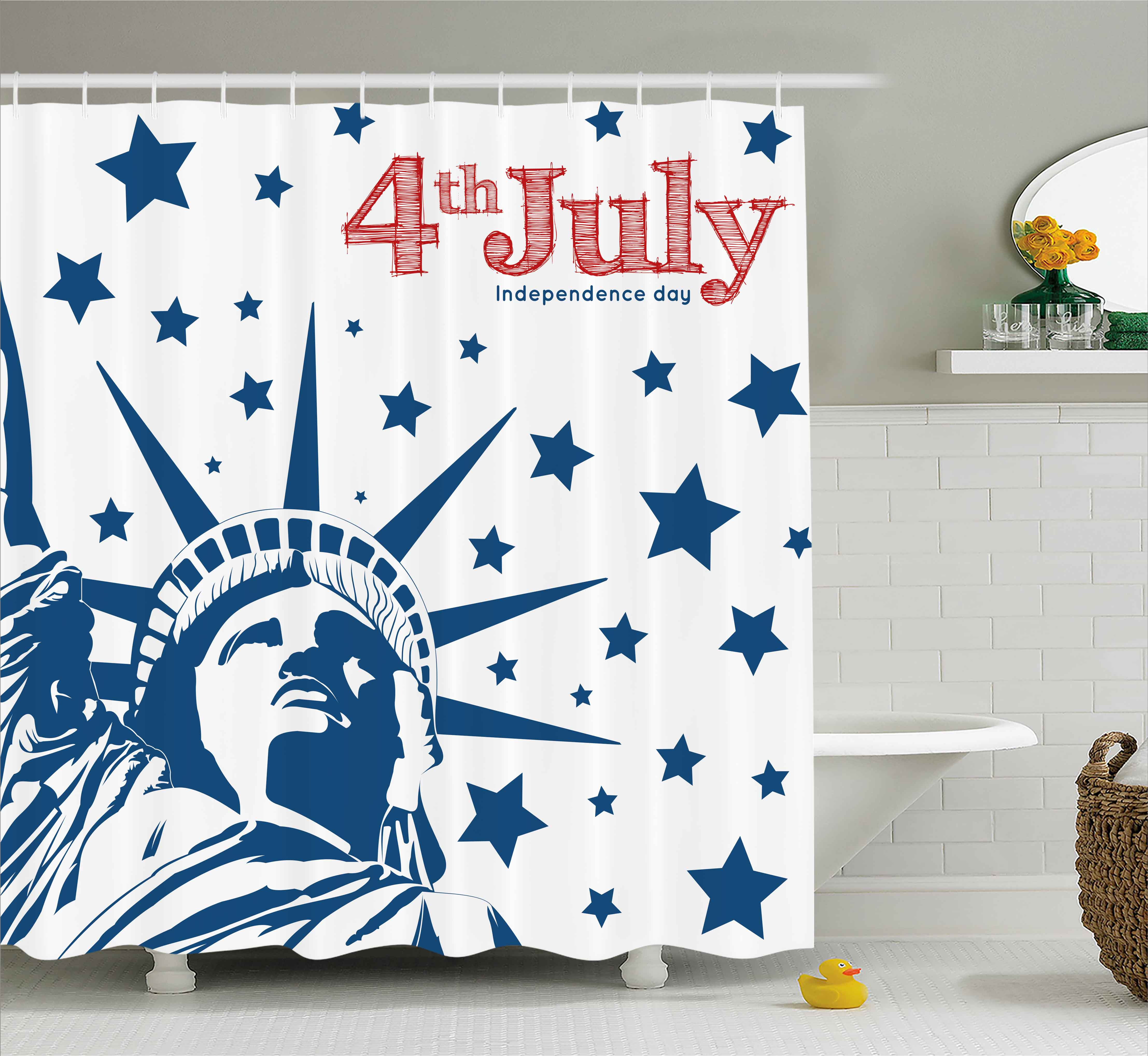 4th of July Decor Shower Curtain, Murky Old American Flag Background with Stars Abstract US Artful Image, Fabric Bathroom Set with Hooks, 69W X 84L Inches Extra Long, Blue Red, by Ambesonne