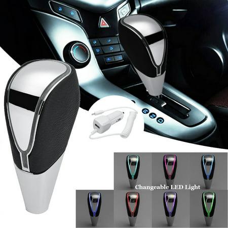 Universal Car Auto Gear Shift Knob 7 Color Touch Activated Sensor RGB LED Light USB Chrome Gear Shift Knob