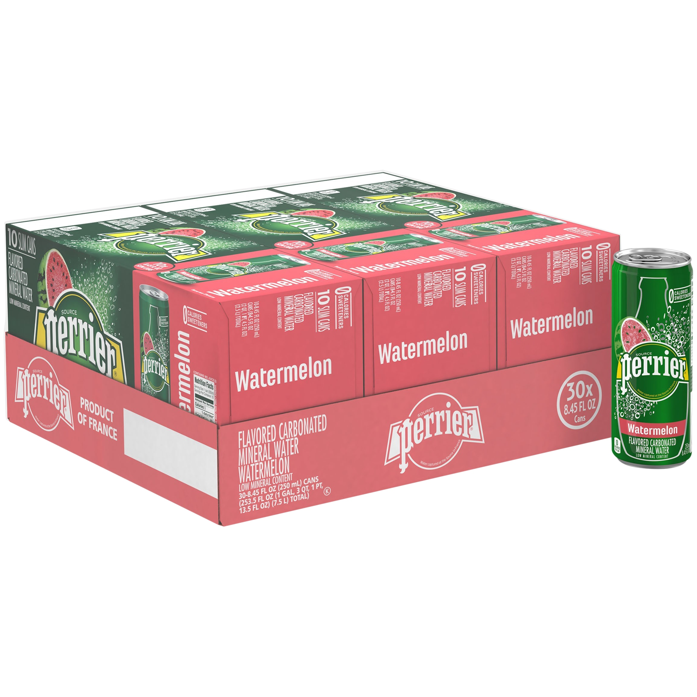 (30 Cans) PERRIER Watermelon Flavored Carbonated Mineral Water, 8.45 Fl Oz