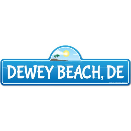 Dewey, DE Delaware Beach Street Sign | Indoor/Outdoor | Surfer, Ocean Lover, Décor For Beach House, Garages, Living Rooms, Bedroom | Signmission Personalized