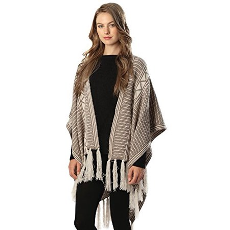 Sassy Poncho Womens Striped with Long Tassels (Beige)