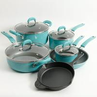 The Pioneer Woman Vintage Speckle & Cast Iron 10-Piece Non-Stick Cookware Set