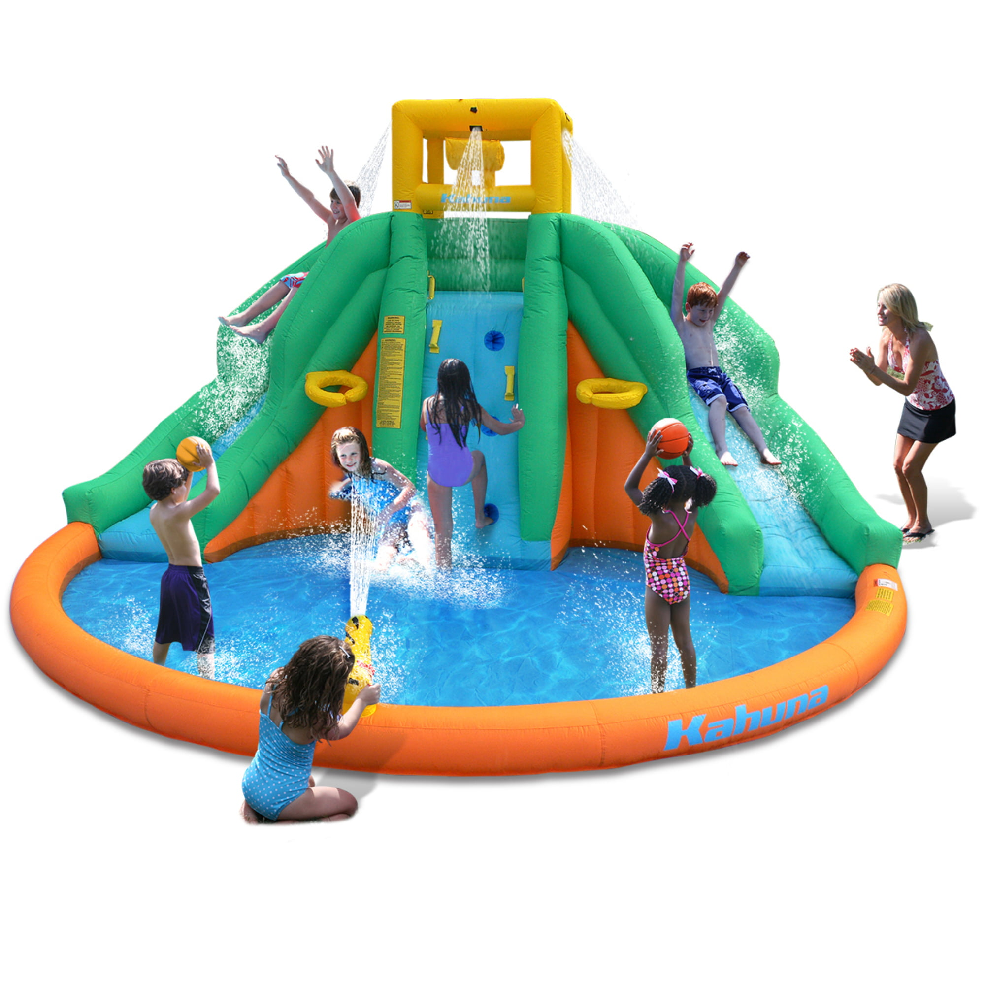 Magic Time Twin Peak Inflatable Water Park with Slide by Magic Time