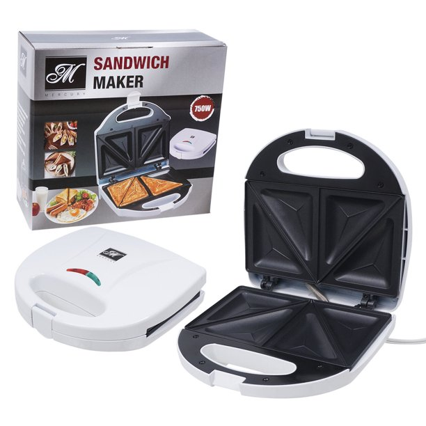 Mercury Sandwich Maker And Toaster With Non Stick Surface White 46781 Walmart Com Walmart Com