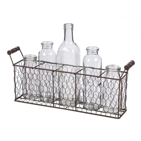 Wire Basket with 5 Bottles