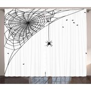 Spider Web Curtains 2 Panels Set, Corner Cobweb with a Hanging Insect Hand Drawn Style Gothic Design with Flies, Window Drapes for Living Room Bedroom, 108W X 90L Inches, Black White, by Ambesonne