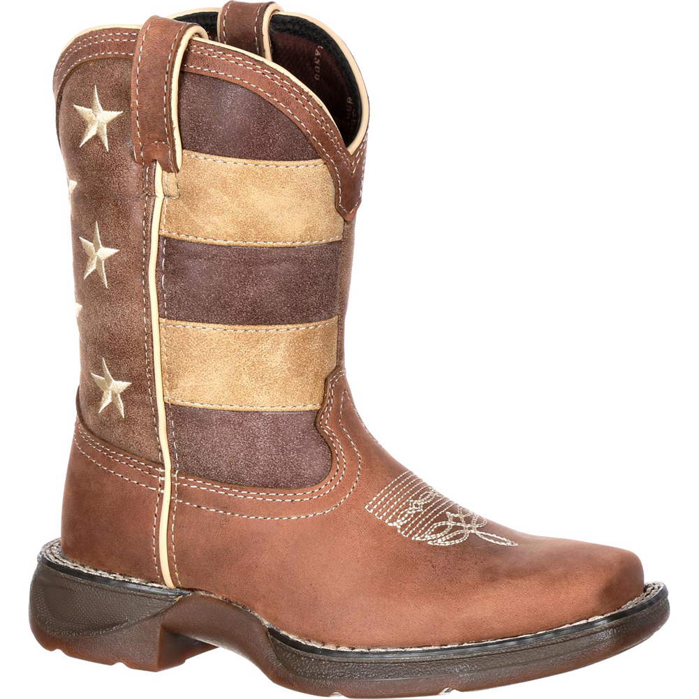 Durango Kid's Faded Glory Flag Western Boots Brown Leather 9 Toddler M by Durango