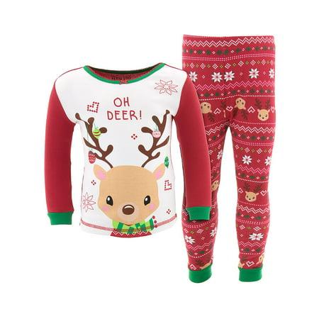 Komar Kids Girls Christmas Reindeer Cotton Pajamas - Kids Reindeer Pajamas
