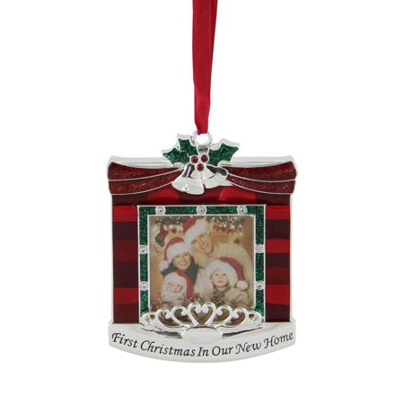 "3.25"" Red and Green ""First Christmas in Our New Home"" Fireplace Silver Plated Photo Frame Ornament"