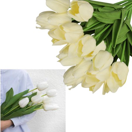 10Pcs Heads Artificial Tulips Flowers Real Touch Arrangement Bouquet for Home Room Office Party Wedding Decoration, Excellent Gift Idea for Mother's Day ()