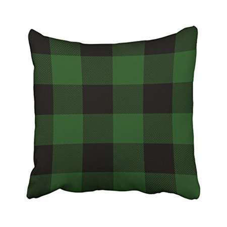 WinHome Decorative Rustic Green And Black Buffalo Check Plaid Pillow Case Size 18x18 inches Two Side ()