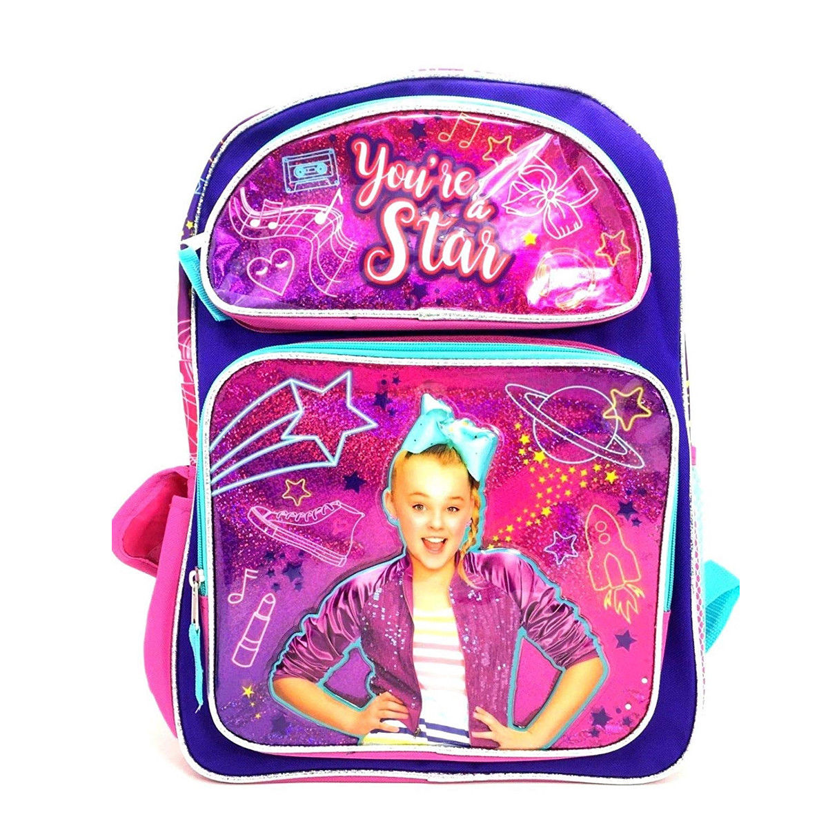 Official JOJO SIWA Rucksack Backpack Schoolbag Metallic Pink Rose Gold