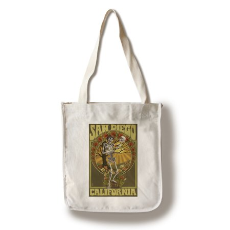 San Diego, California - Day of the Dead - Skeleton Holding Sugar Skull - Lantern Press Artwork (100% Cotton Tote Bag - Reusable) (Day Of The Dead Purse)
