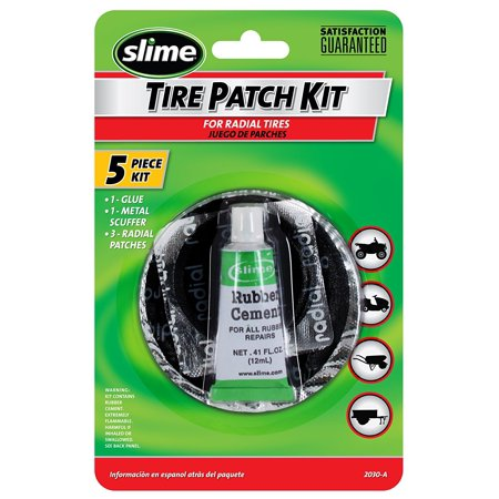 2030-A Tire Patch Kit with Glue, Repair puncture related flats on ATVs, mowers, bicycles and wheelbarrows By Slime ()