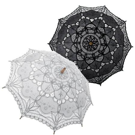 TopTie Lace Umbrella Parasol Wedding Bridal Photograph For Decoration Halloween Costume Accessories-white black for $<!---->