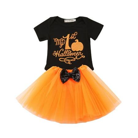 Halloween Colors Clothes (2Pcs Halloween Pumpkin Kids Baby Girls Outfits Clothes T-shirt Tops + Tutu Dress)