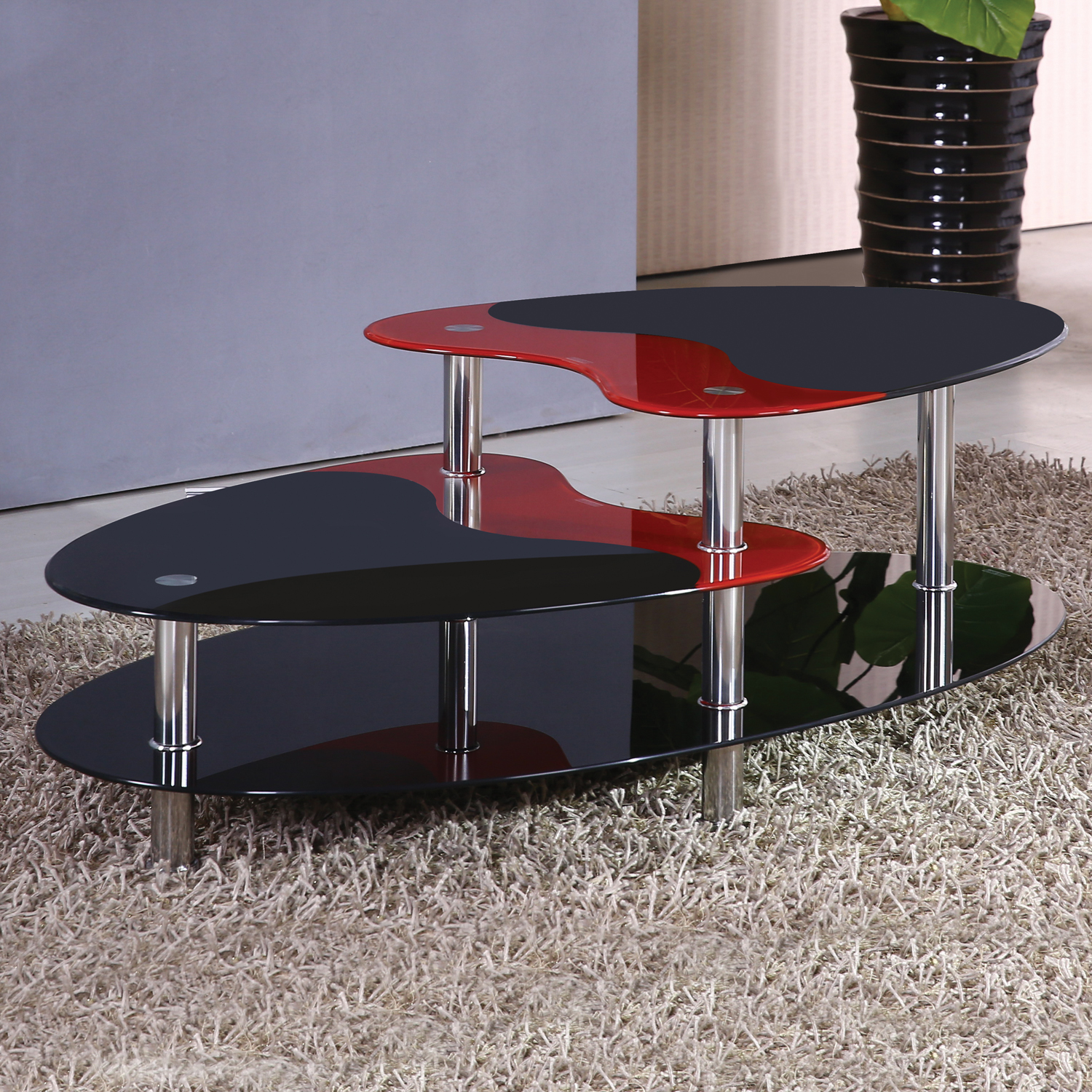 Home Source Black And Red Tier Glass Coffee Table