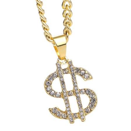 Crystal Dollar Sign Necklace Anti-Tarnish Man Woman Pendant Jewelry, J-112-A ()