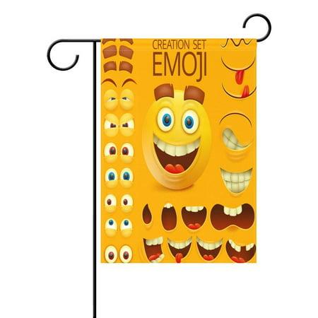 POPCreation Yellow Smiley Face Emoji Garden Flag Emoticon Outdoor Flag Home Party 28x40 inches - Checkered Flag Emoji