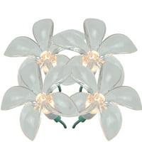 J. Hofert Co 20ct Plumeria Flower Shaped Outdoor String Lights Clear - 8' Green Wire