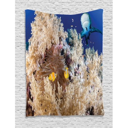 Shark Tapestry, Reef with Little Clown Fish and Sharks East Egyptian Red Sea Life Scenery Food Chain, Wall Hanging for Bedroom Living Room Dorm Decor, Blue Cream, by Ambesonne