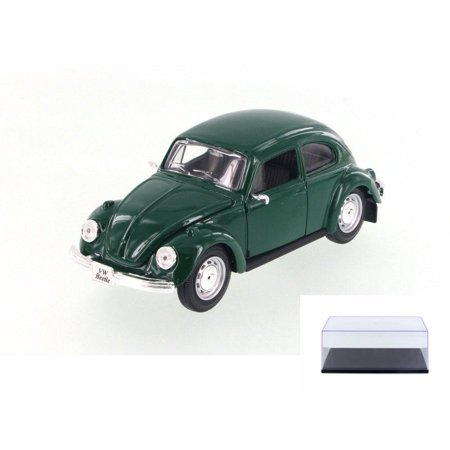 Diecast Car & Display Case Package - 1973 Volkswagen Beetle, Green - Maisto 34926 - 1/24 Scale Diecast Model Toy Car w/Display Case