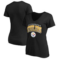 Women's Fanatics Branded Black Pittsburgh Steelers Faded Arch V-Neck T-Shirt