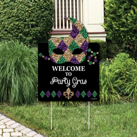Mardi Gras - Party Decorations - Masquerade Party Welcome Yard Sign for $<!---->