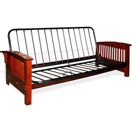 Bridgeport full size futon frame walnut box 1 walmartcom for Walmart futon frame only