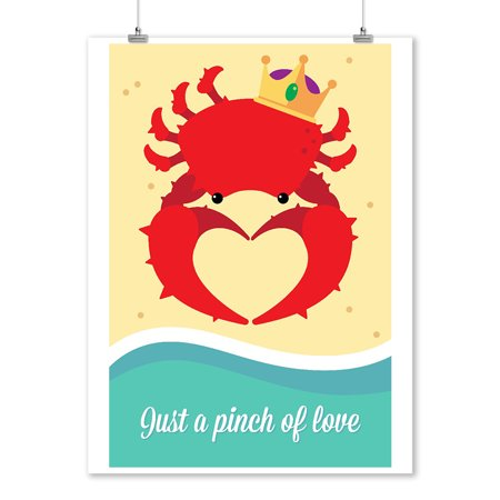 Just a Pinch of Love - King Crab - Vector - Lantern Press Artwork (9x12 Art Print, Wall Decor Travel Poster)