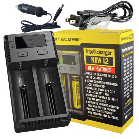 NEW 2018 NITECORE i2 Intellicharger Battery Charger 18650 14500 AAA Li-ion Ni-MH + Car Adapter Power Supply