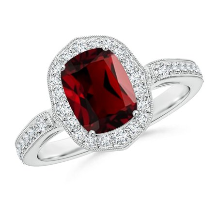 Valentine Jewelry Gift - Cushion Garnet Halo Ring in Platinum (8x6mm Garnet) - SR1062GD-PT-AAAA-8x6-5.5