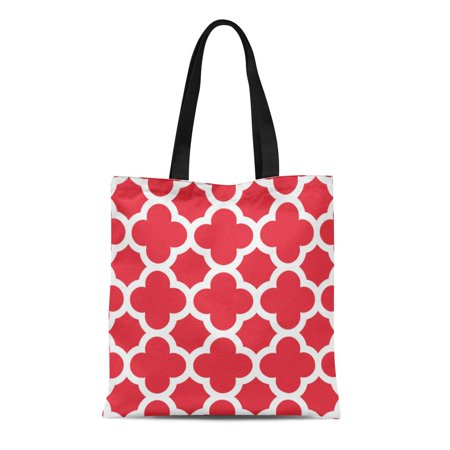 HATIART Canvas Tote Bag Garden Poppy Red Quatrefoil Pattern Patio Bright Moroccan Geometric Reusable Handbag Shoulder Grocery Shopping Bags - image 1 de 1