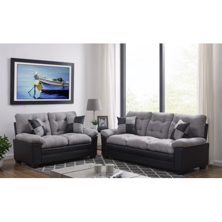 Living Room Simple Classic Plush Cushion Sofa And Loveseat Microfiber Upholstery Furniture Couch 2pc Sofa Set Gray And Black Color ()