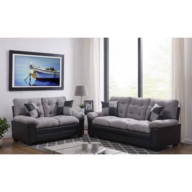 living room simple classic plush cushion sofa and loveseat