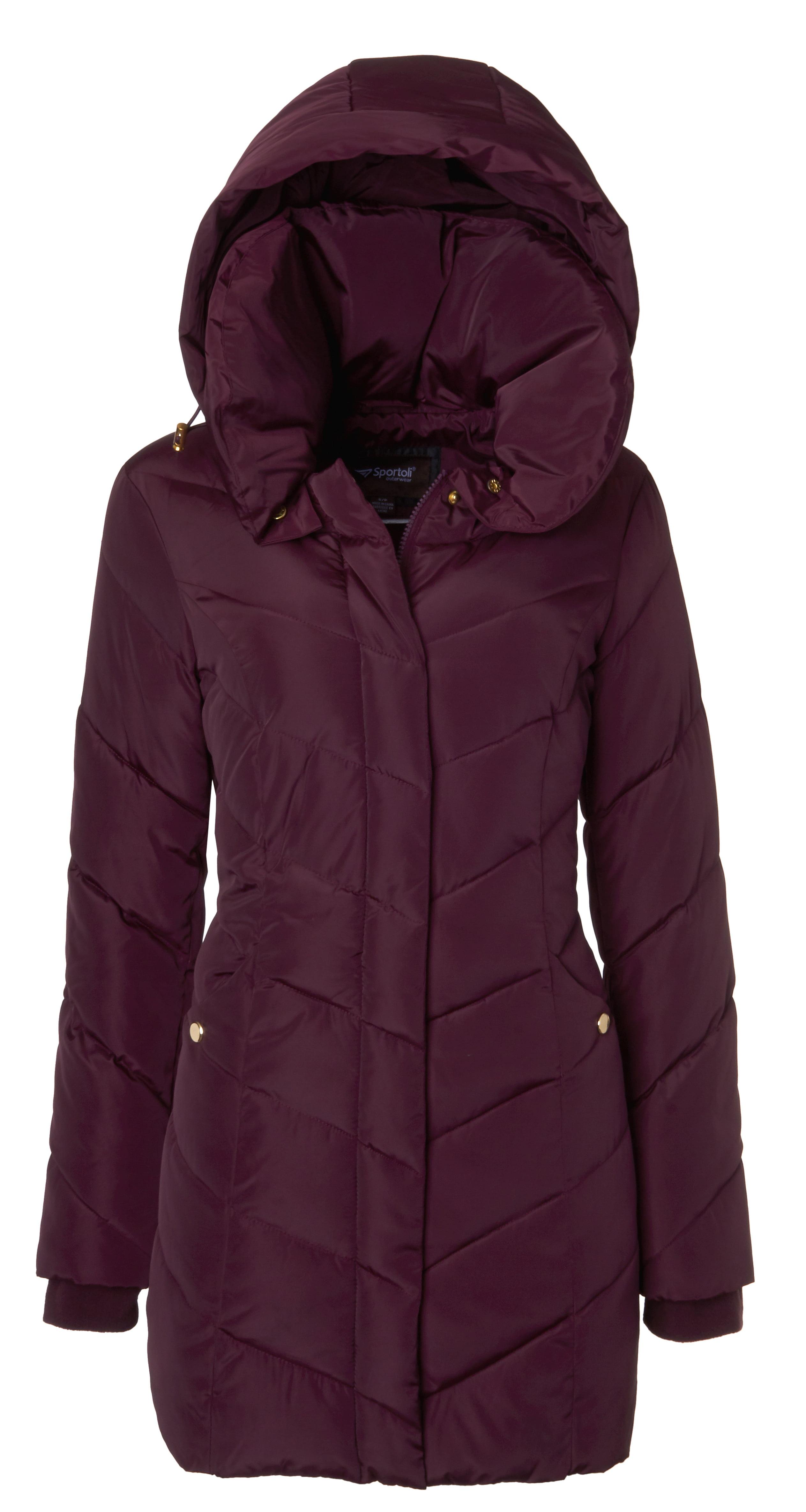 a4ba7b29c788b Sportoli - Sportoli Womens Winter Fleece Lined Chevron Quilted Puffer  Jacket Coat with Hood - Merlot (Size 3X ) - Walmart.com