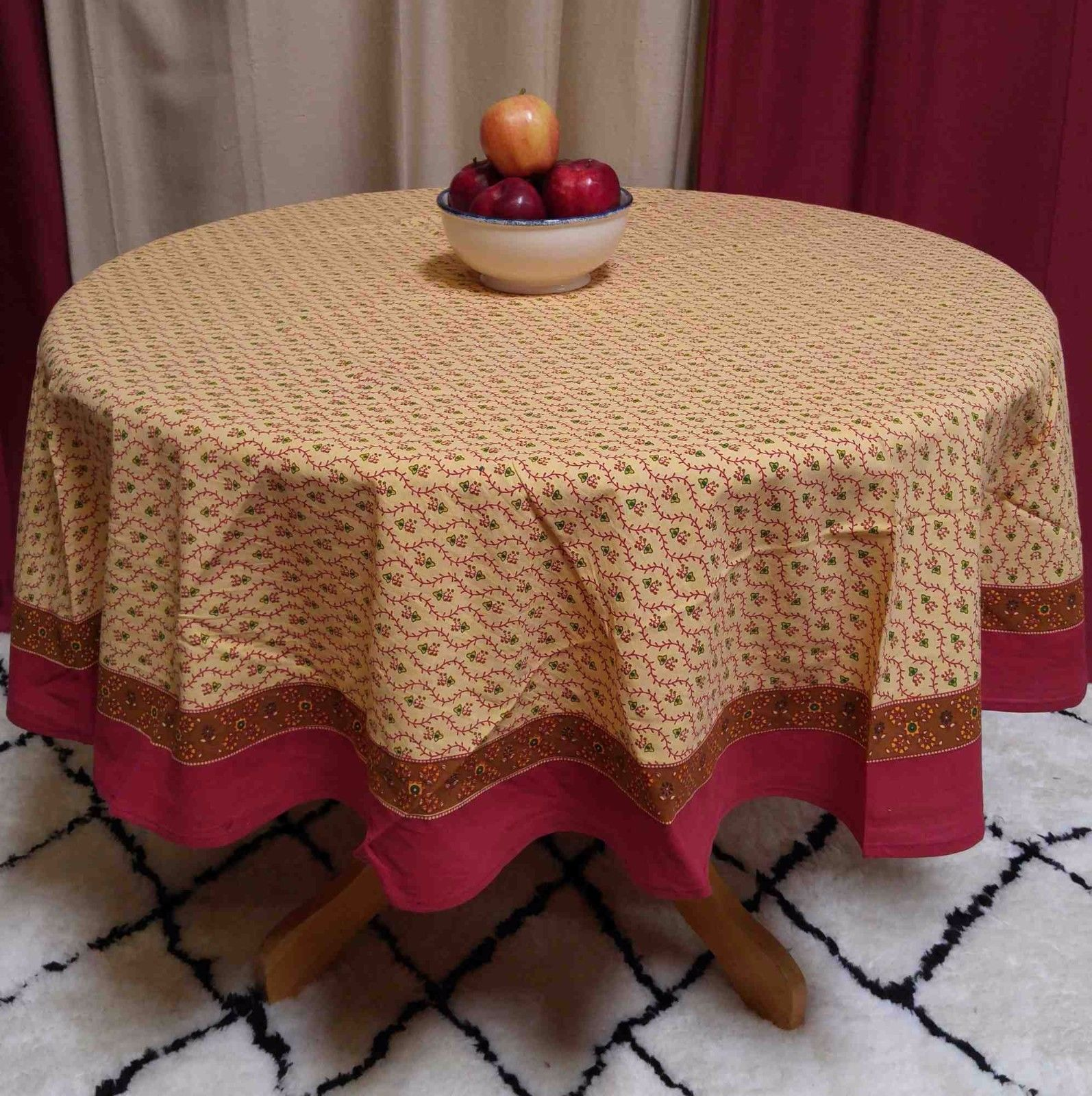 Cotton Floral Tablecloth Round 60 Inches Gold Red Green   Walmart.com