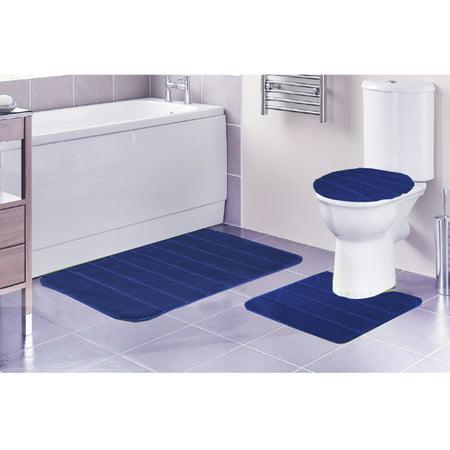 Louise Ribbed 3 Piece Bathroom Rug Set Bath Rug Contour