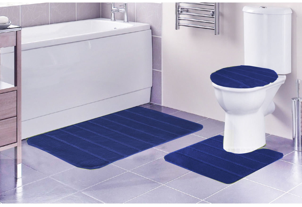 Louise Ribbed 3 Piece Bathroom Rug Set, Bath Rug, Contour Rug, Lid Cover