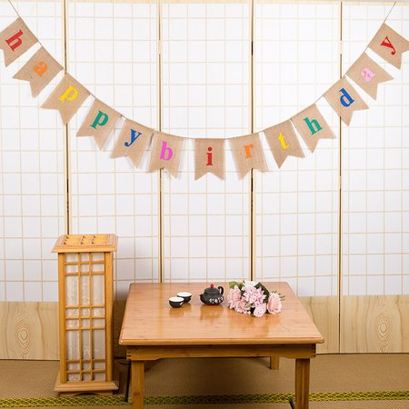 Esonmus Colorful Burlap Happy Birthday Flags Banner Birthday Party Decorations Supplies](Burlap Birthday Banner)