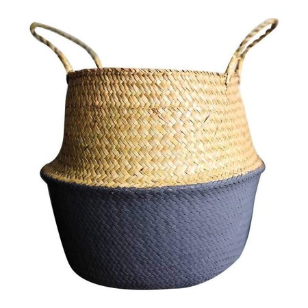 Clearance! Seagrass Wicker Folding Plant Flower Basket Flower Pots Outdoor Indoor For Home Garden Wall And Wedding Decoration (White)