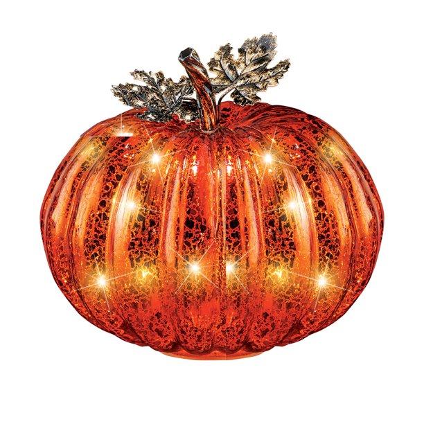Festive Lighted Glass Pumpkins Indoor Fall Decor Walmart Com Walmart Com