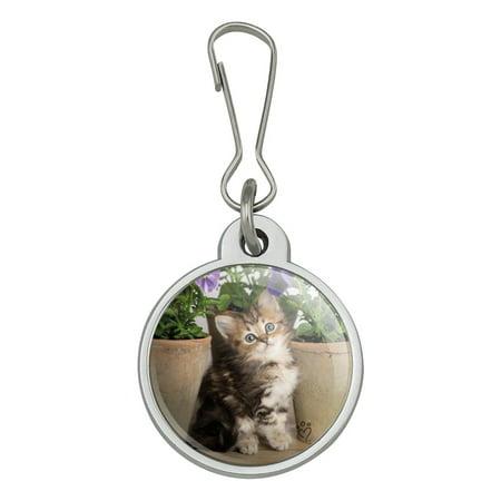 Ragdoll Tiffany Kitten Cat Flower Pots Jacket Handbag Purse Luggage Backpack Zipper Pull Charm ()