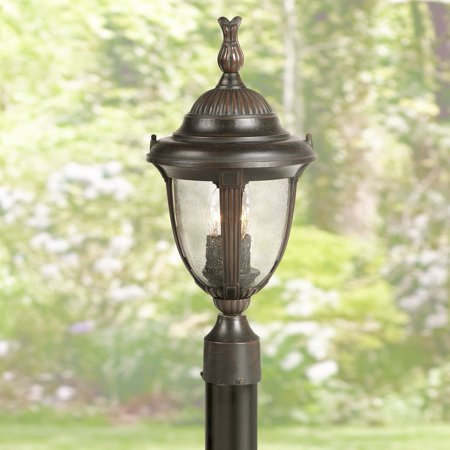 John Timberland Traditional Outdoor Post Light Bronze Cast Aluminum 19 1/2