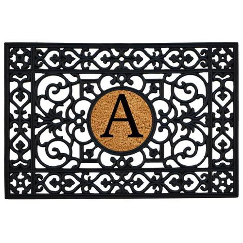 Rubber with Monogrammed Insert Doormat 2' x 3' Letter T