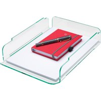 Lorell, Single Stacking Letter Tray, 1 Each, Clear,Green