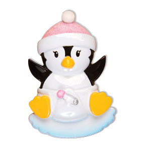 PERSONALIZED CHRISTMAS ORNAMENTS BABY'S FIRST- BABY PENGUIN GIRL KIT